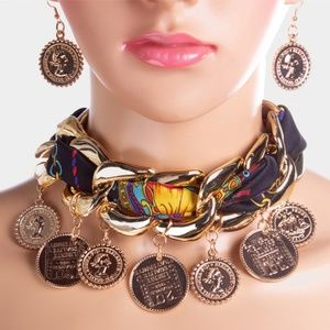 Print Fabric Gold Chain Link Coin Necklace Choker